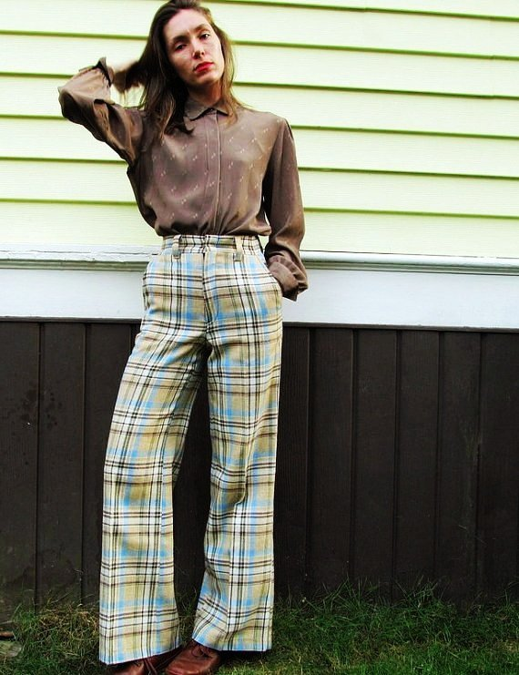 70s plaid high-waisted bell bottoms womens pants small-f78566