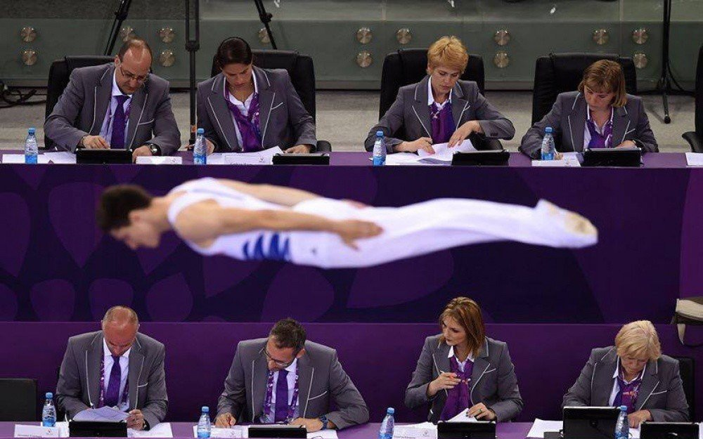 Some very 'attentive' judges at the European Games in Baku, Azerbaijan