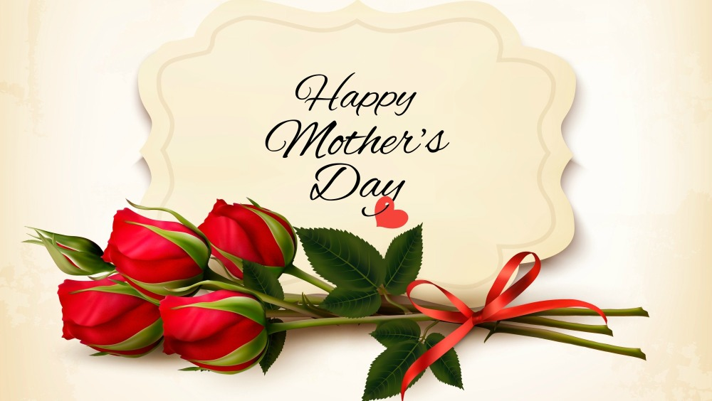 Bouquet of red roses. Mother's Day background. Vector.